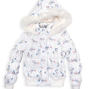 Pumpkin Patch Girl's White Puffer Jacket Sz 6 7 8